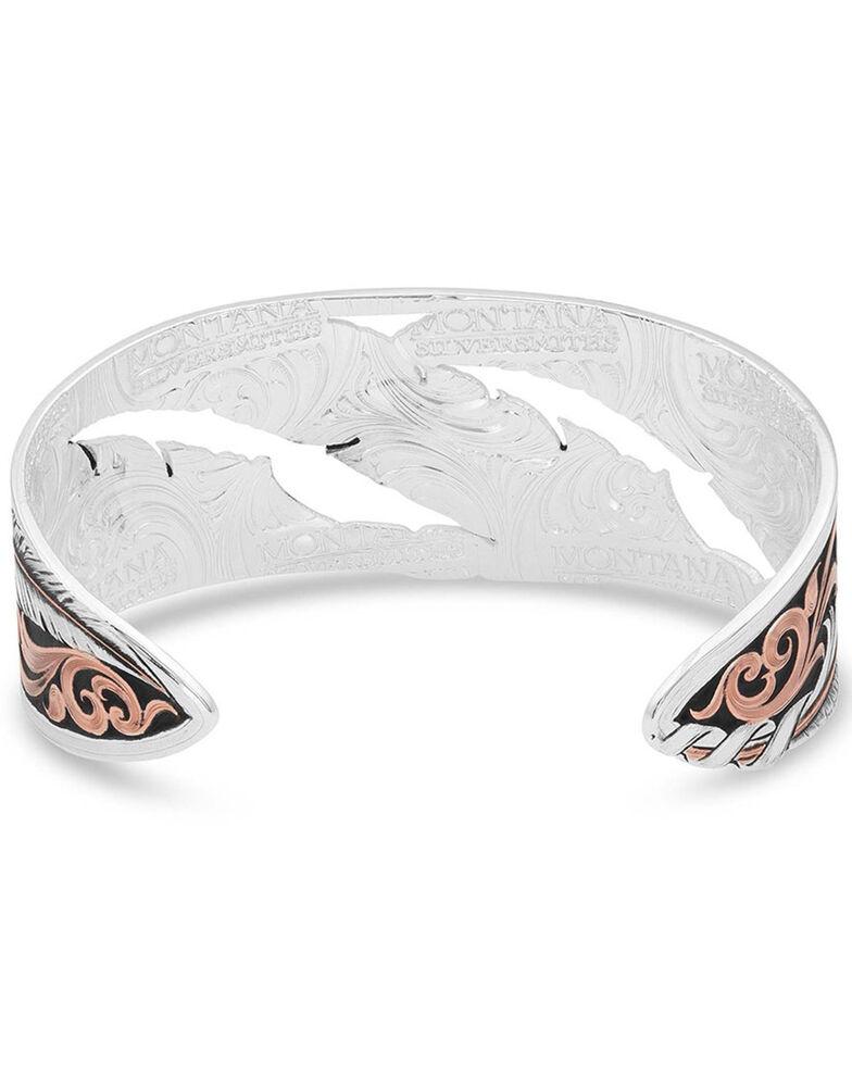 Montana Silversmiths Women's Wind Dancer Pierced Feather Cuff Bracelet, Silver, hi-res