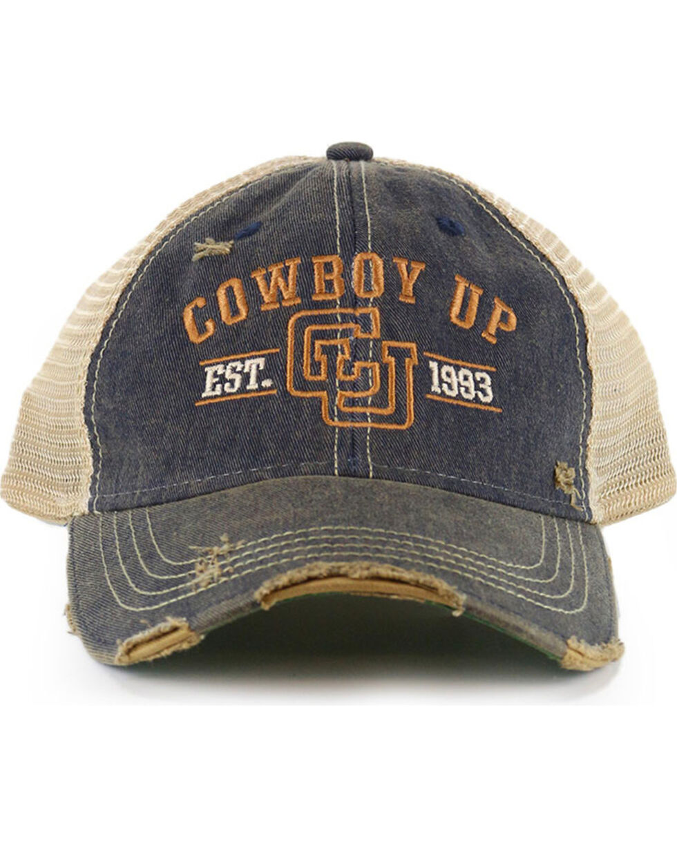 Cowboy Up Men's Distressed Vintage Trucker Ball Cap , Chocolate, hi-res