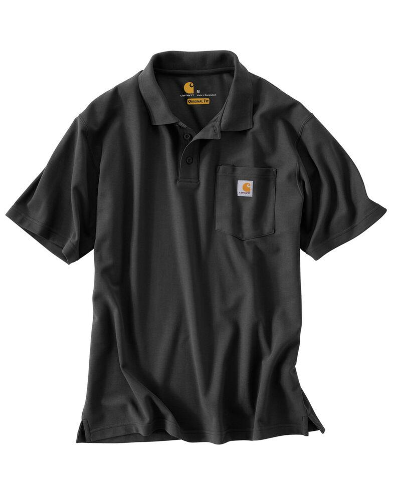 Carhartt Men's Contractor's Pocket Short Sleeve Polo Work Shirt - Big & Tall, Black, hi-res