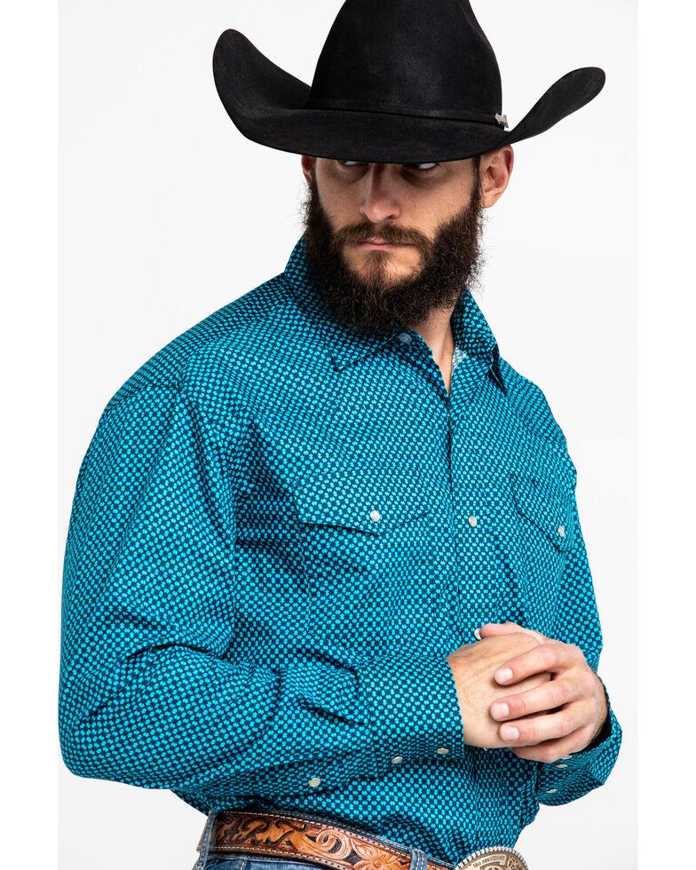 Roper Men's Blue Geo Print Long Sleeve Western Shirt , Blue, hi-res