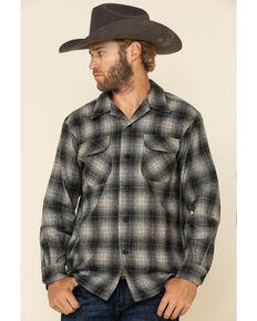 Pendleton Men's Grey Board Large Plaid Long Sleeve Western Shirt , Grey, hi-res