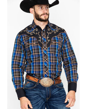Roper Men's Horseshoe Yoke Plaid Long Sleeve Western Shirt , Blue, hi-res