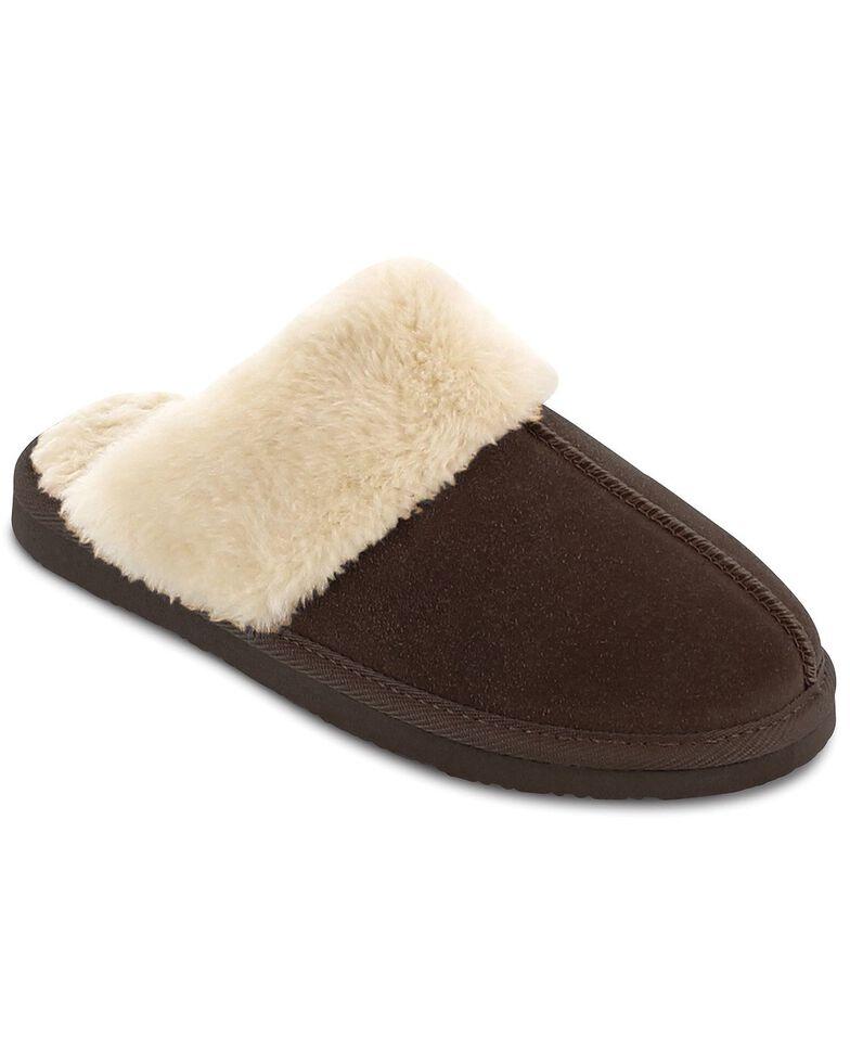Minnetonka Women's Chesney Scuff-Free Slippers, Chocolate, hi-res