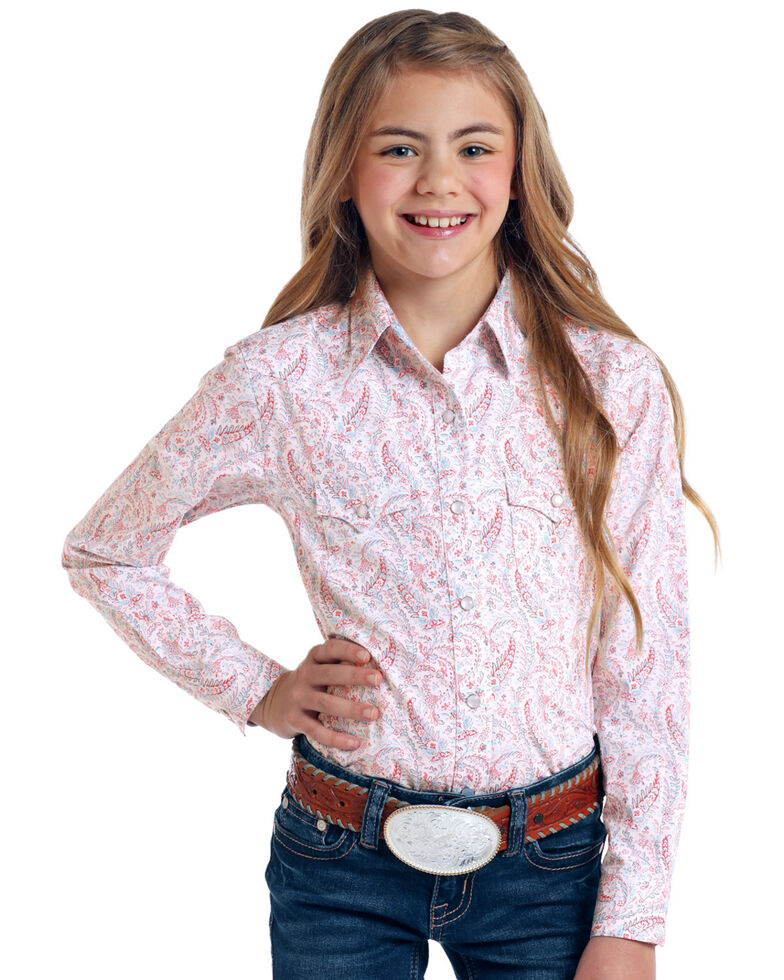 Rough Stock by Panhandle Girls' Ozeta Antique Print Long Sleeve Shirt, , hi-res