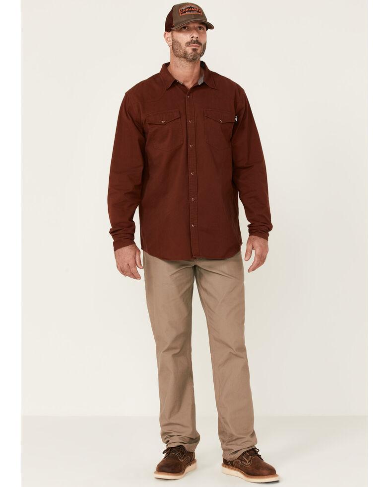 Hawx Men's Solid Mahogany Twill Snap Long Sleeve Work Shirt - Tall , Mahogany, hi-res