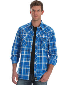 Rock 47 by Wrangler Men's Blue Plaid Long Sleeves Western Shirt , Blue, hi-res