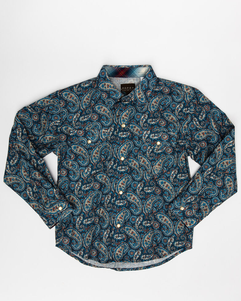 Roper Boys' Amarillo Normandy Paisley Print Long Sleeve Western Shirt , Blue, hi-res