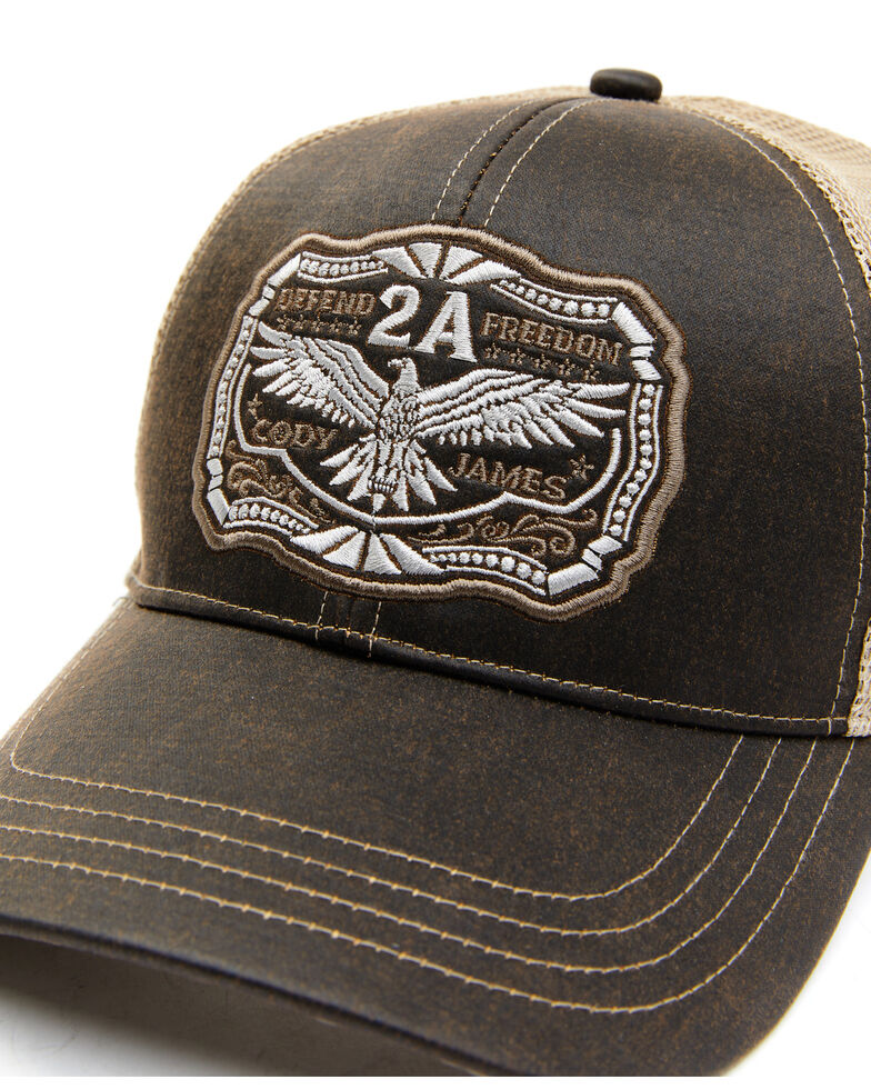 Cody James Men's Freedom Eagle Embroidered Mesh-Back Ball Cap , Brown, hi-res