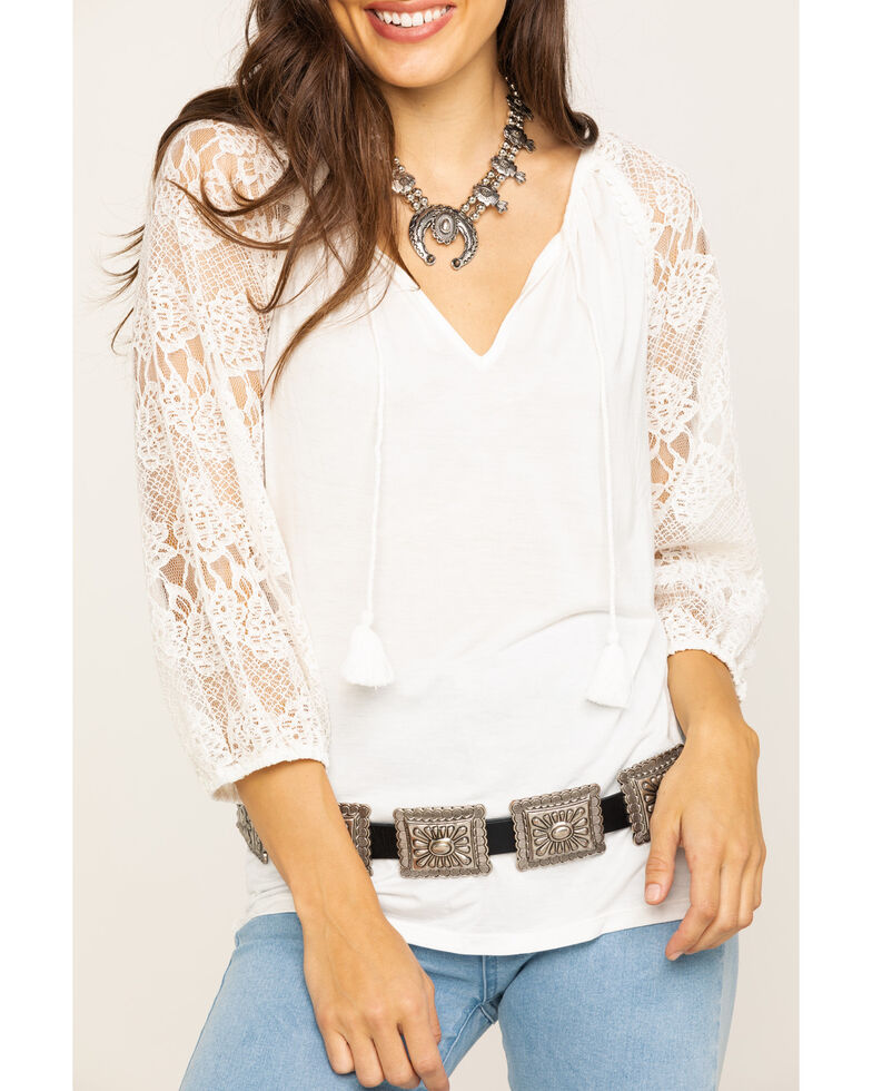 Wrangler Women's Ivory Lace Knit Top, Natural, hi-res
