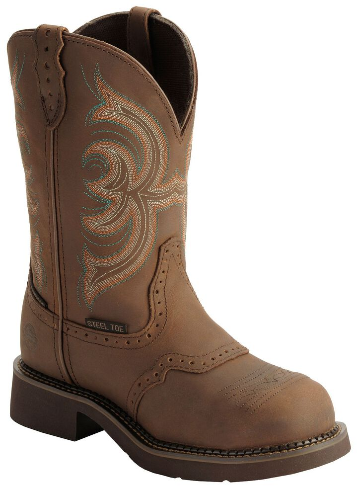 """Justin Gypsy Women's Wanette 11"""" Brown EH Work Boots - Steel Toe, Aged Bark, hi-res"""