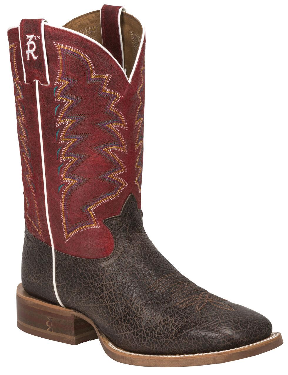 Tony Lama Cafe Bonham 3R Stockman Boots - Wide Square Toe, Dark Brown, hi-res