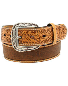 Ariat Men's Croc Floral Tabs Belt, Tan, hi-res