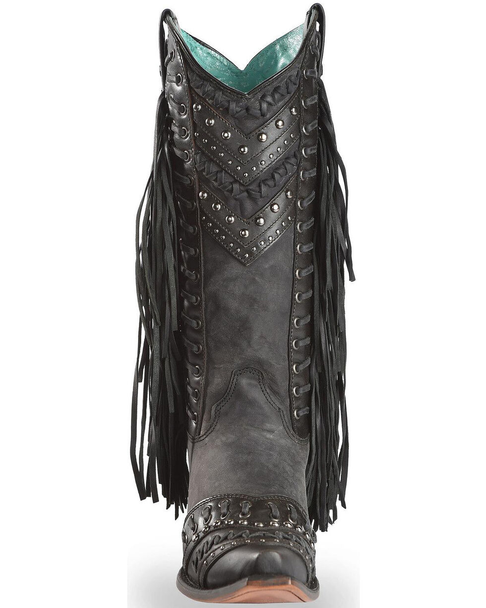 Corral Studded Side Fringe Cowgirl Boots - Snip Toe, Black, hi-res