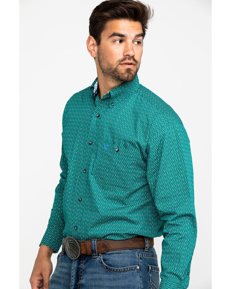 George Strait by Wrangler Men's Evergreen Geo Print Long Sleeve Western Shirt , Green, hi-res