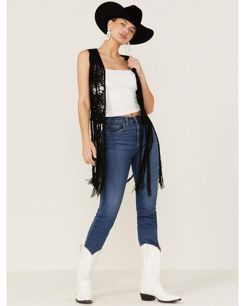 Rock & Roll Denim Women's Black Crochet Long Fringe Vest, Black, hi-res