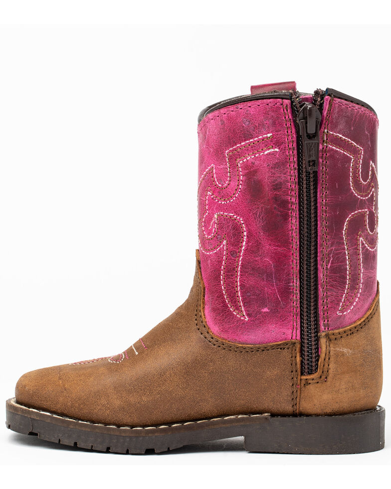 Cody James Infant Girls' Pink Top Western Boots - Round Toe, Brown/pink, hi-res