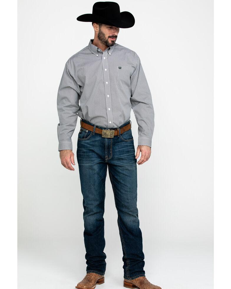 Cinch Men's Multi Dot Geo Print Long Sleeve Western Shirt , Purple, hi-res