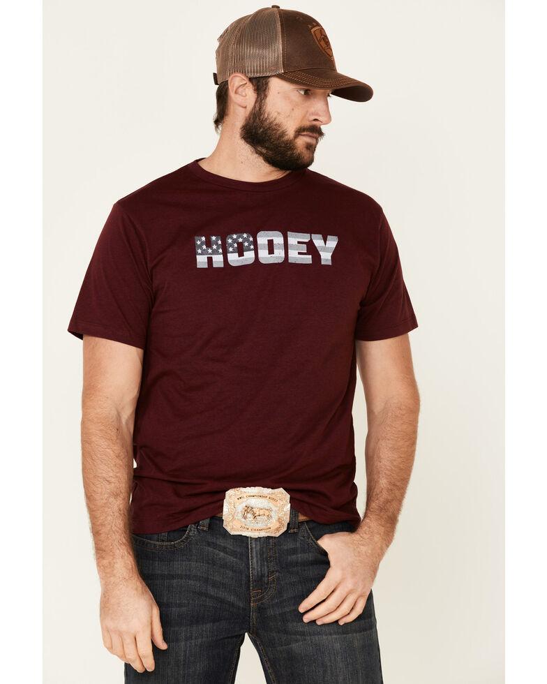 HOOey Men's Burgundy Flag Logo Graphic T-Shirt , Burgundy, hi-res