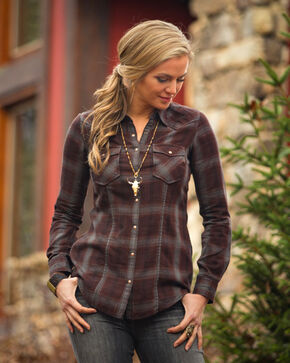 Ryan Michael Women's Ombre Plaid Embroidered Western Shirt Jacket, Black, hi-res