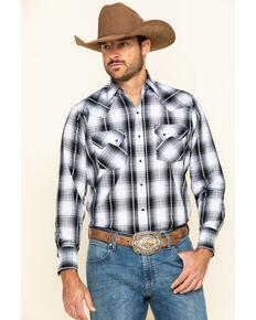 Ely Cattleman Men's Black / Blue Med Plaid Long Sleeve Western Shirt - Tall , Black, hi-res