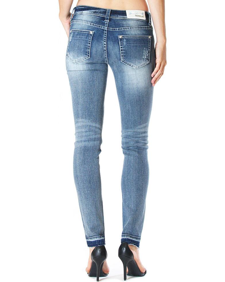 Grace in LA Women's Destructed Jeans - Skinny , Medium Blue, hi-res