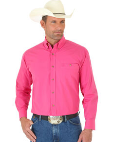 George Strait by Wrangler Men's Pink Solid Long Sleeve Western Shirt, Pink, hi-res