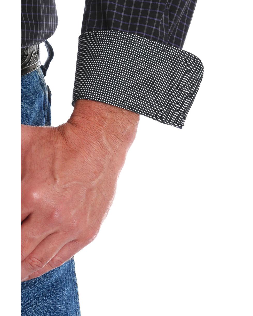 George Strait by Wrangler Men's Black Checker Long Sleeve Western Shirt, Black, hi-res