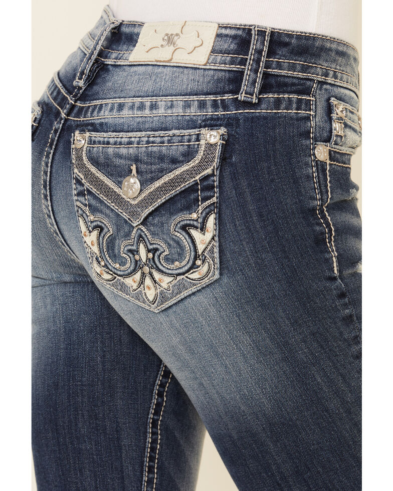 """Miss Me Women's 32"""" Inseam Leather Patch Chloe Bootcut Jeans , Blue, hi-res"""