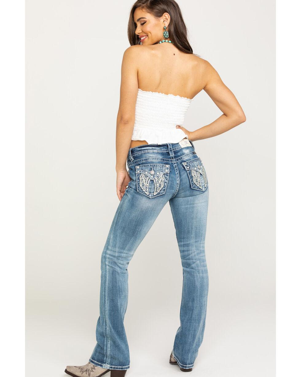 """Miss Me Women's Light Faux Flap Wing 34"""" Bootcut Jeans , Blue, hi-res"""