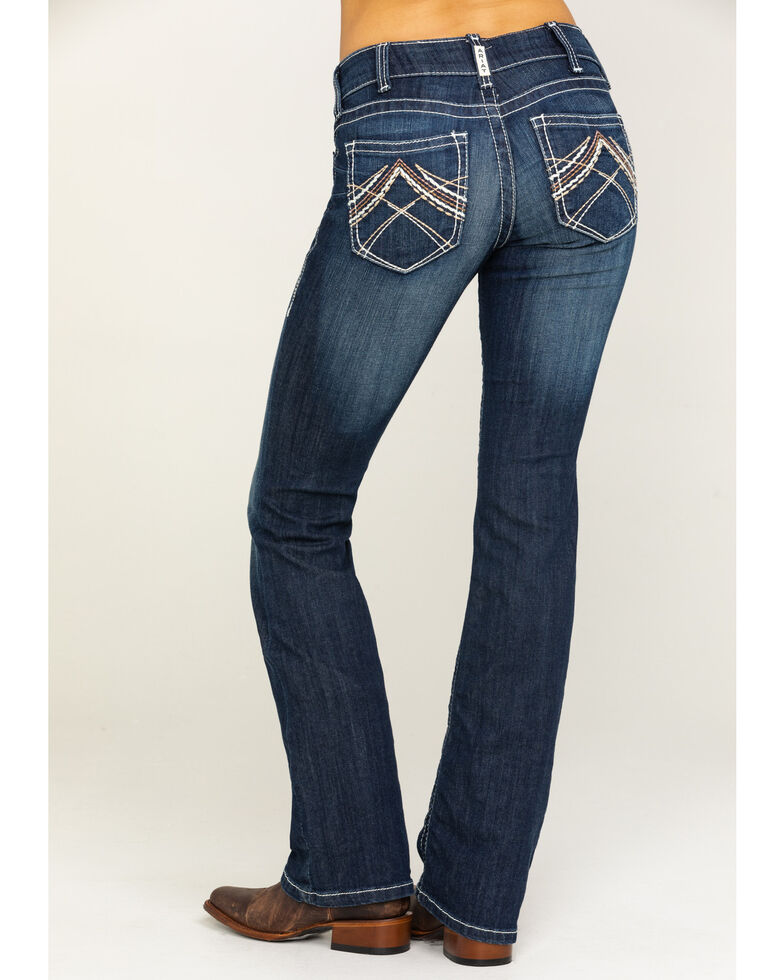 Ariat Women's R.E.A.L. Low Rise Rosy Whipstitch Bootcut Jeans, Blue, hi-res