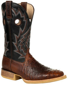 Durango Men's Rebel Pro Ostrich Western Boots - Square Toe, Black, hi-res