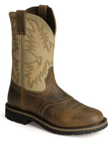 Justin Men's Stampede Superintendent Creme Work Boots - Round soft Toe, Brown, hi-res