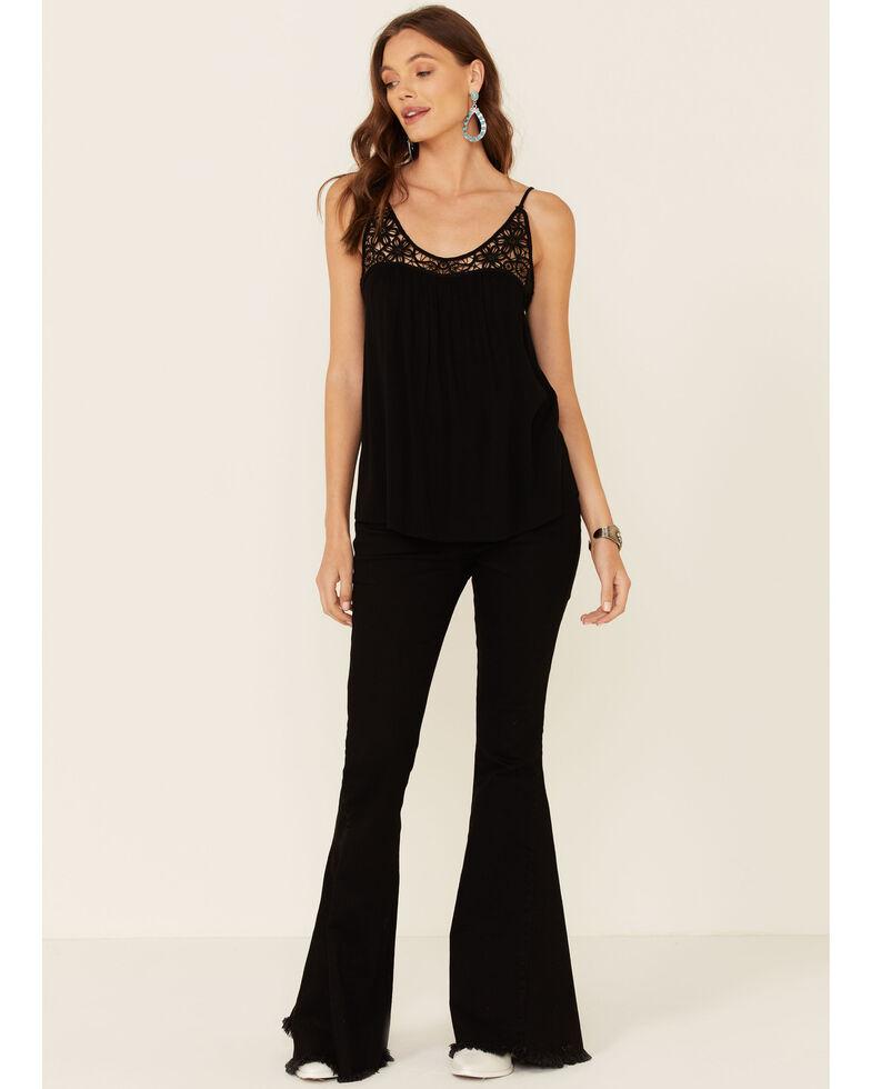 Panhandle Women's Black Lace Trim Crinkle Inset Cami , Black, hi-res