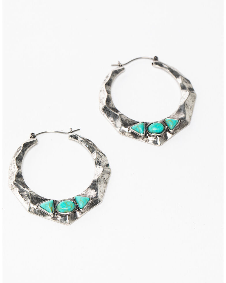 Idyllwind Women's Yours Truly Geo Turquoise Earrings, Silver, hi-res