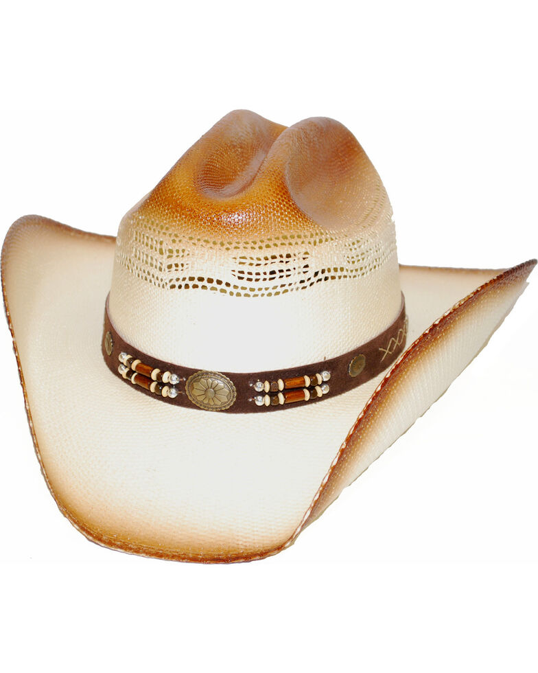 Western Express Timber Lake Concho   Bead Straw Cowboy Hat - Country ... 26096ca622b8