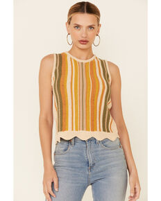 Wishlist Women's Mustard Stripe Sweater Knit Tank Top  , Mustard, hi-res