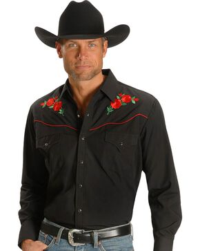 Ely Cattleman Embroidered Rose Design Western Shirt, Black, hi-res