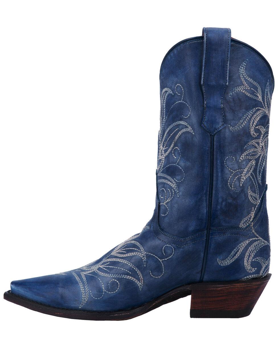 Dan Post Women's Nora Blue Leaf Stitch Boots - Snip Toe , Blue, hi-res