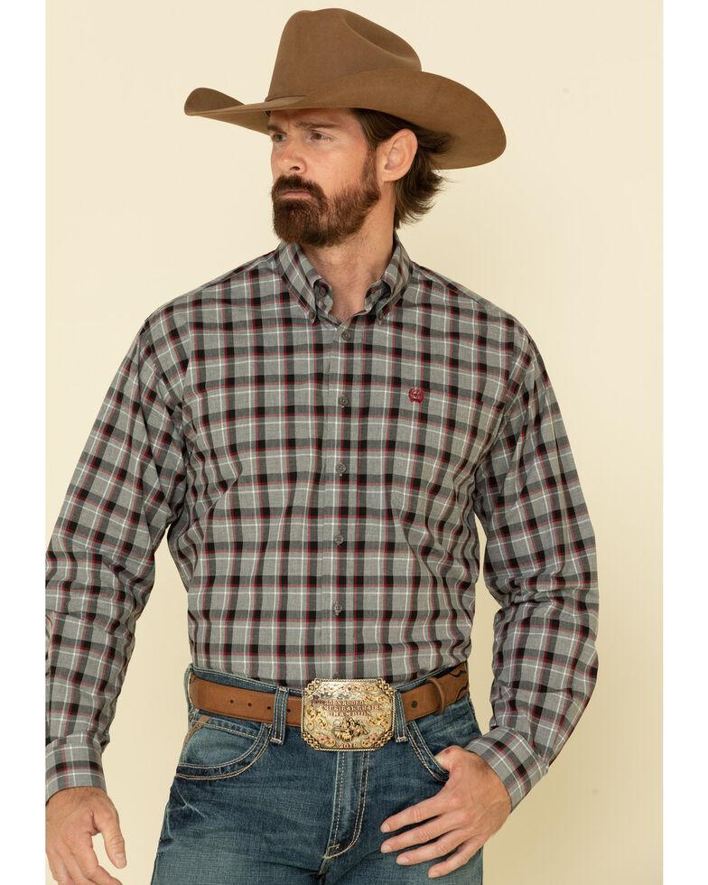 Cinch Men's Grey Large Plaid Heathered Yarn Long Sleeve Western Shirt , Grey, hi-res
