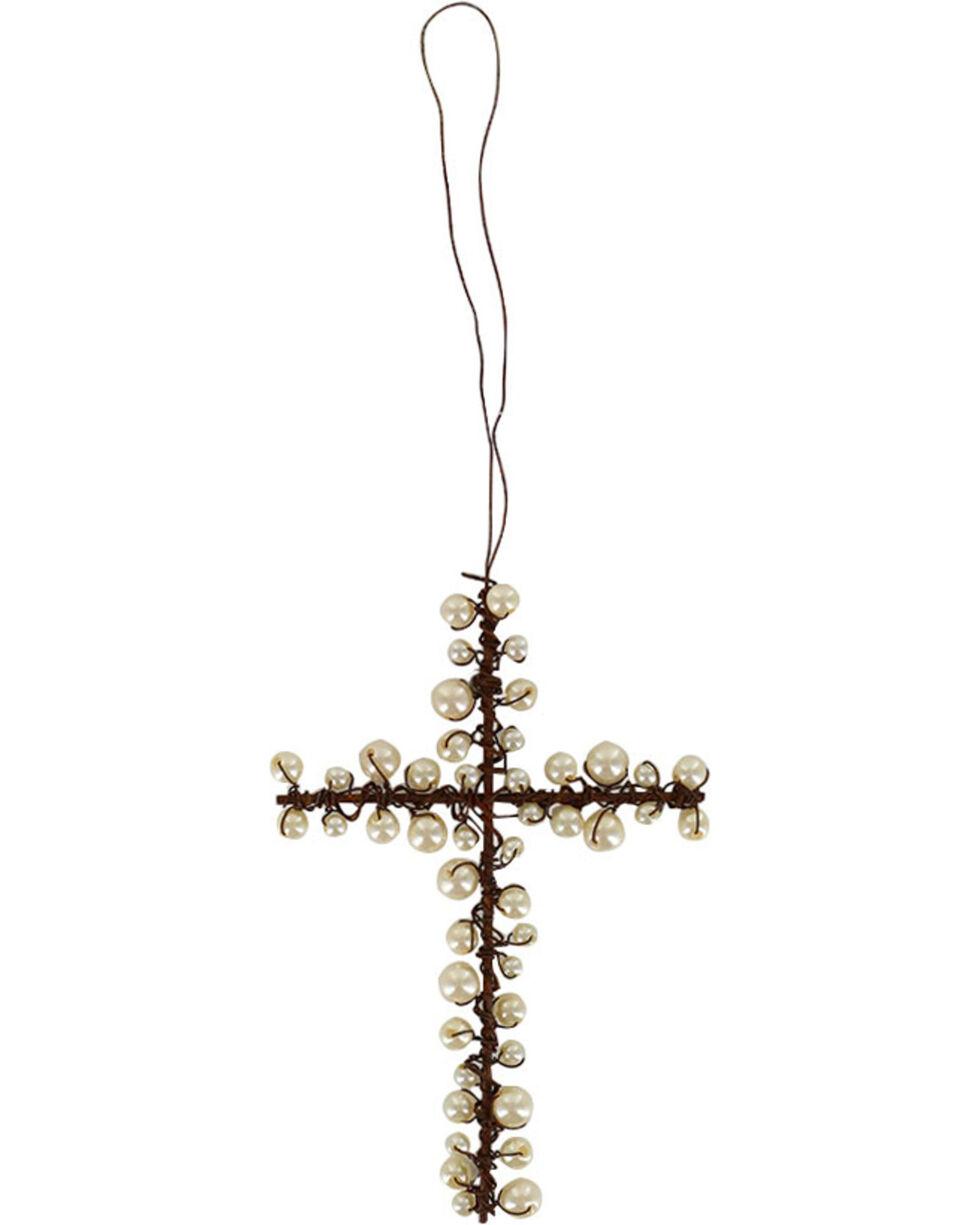 BB Ranch Metal Wire & Pearl Cross Ornament, No Color, hi-res