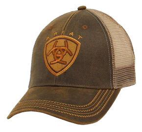 Ariat Men's Oilskin Mesh Cap, Brown, hi-res