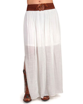 Shyanne Women's Cream Long Peasant Skirt , Cream, hi-res