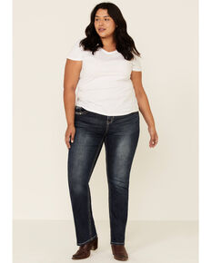 Grace in LA Women's Cross Straight Leg Jeans - Plus, Blue, hi-res