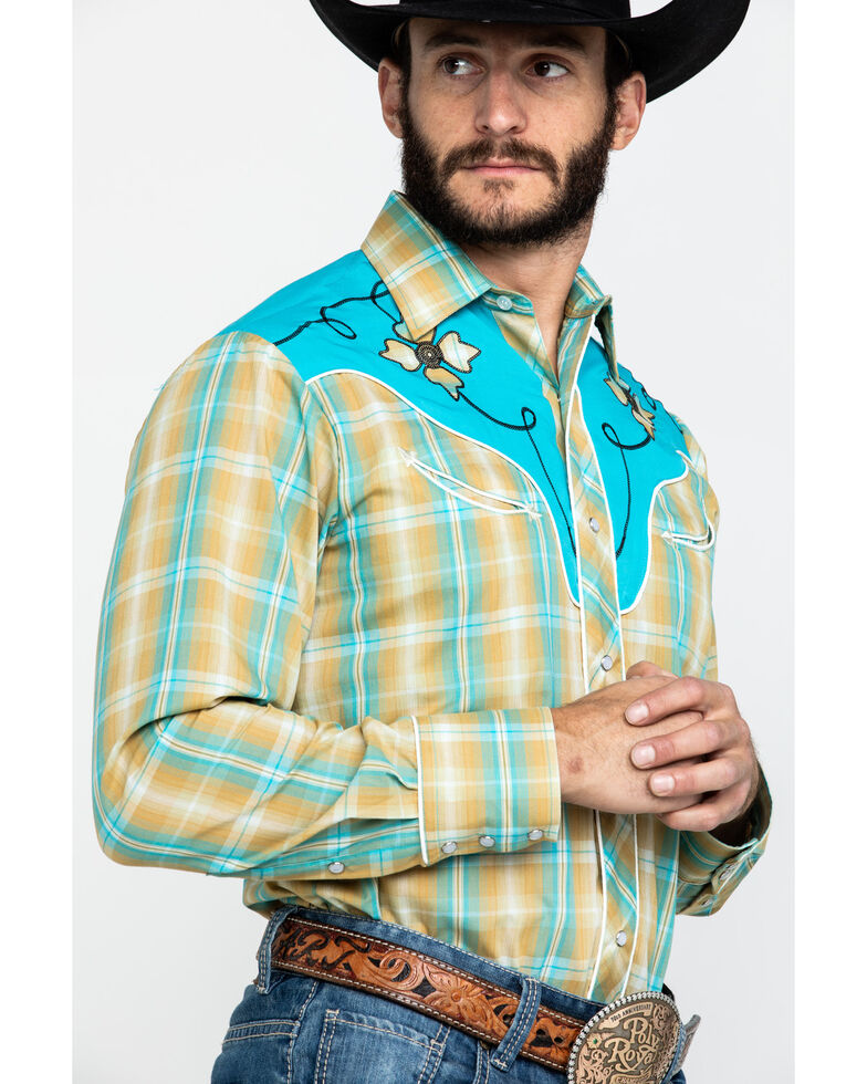 Roper Men's Fancy Applique Embroidered Plaid Long Sleeve Western Shirt , Brown, hi-res