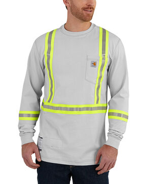 Carhartt Men's Flame Resistant Force High-Viz Long Sleeve Shirt - Big & Tall, Lt Grey, hi-res