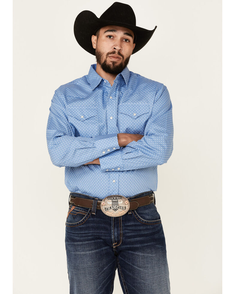 Ely Walker Men's Assorted Ditzy Geo Print Long Sleeve Snap Western Shirt , Multi, hi-res