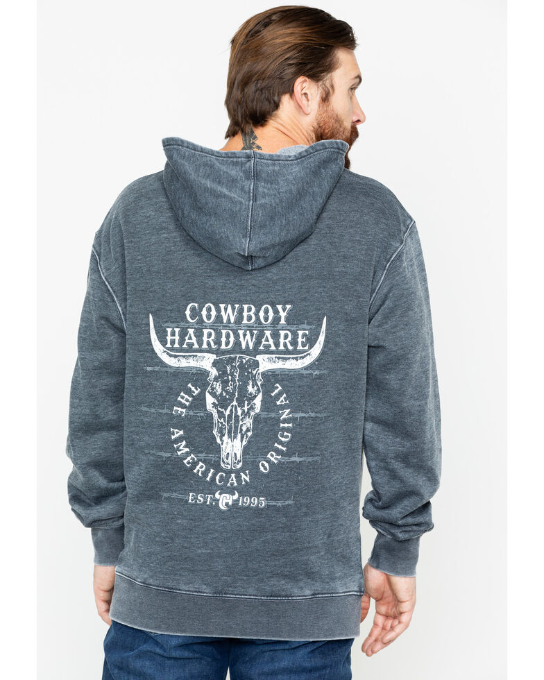 Cowboy Hardware Men's American Original Graphic Acid Wash Hooded Sweatshirt , Black, hi-res
