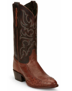 Tony Lama Men's Brown Ostrich Western Boots - Round Toe, Brown, hi-res