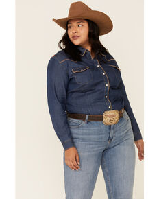 Rough Stock by Panhandle Women's Chambray Thunderbird Embroidered Long Sleeve Western Shirt - Plus, Blue, hi-res