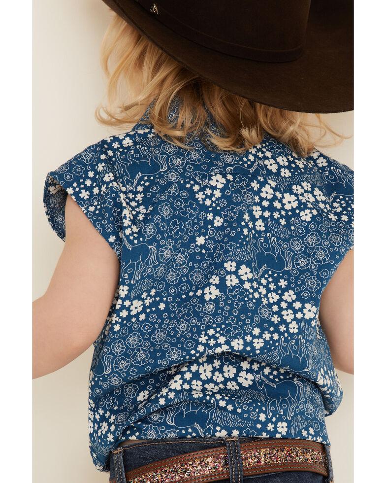Shyanne Toddler Girls' Ditsy Floral Print Tie-Front Short Sleeve Western Shirt , Blue, hi-res